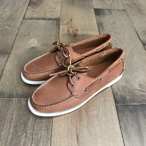 L.L. Bean Comfort Boat Shoes Loafers Leather Tan 9